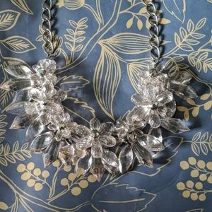 Clear grey crystal statement flower bead necklace